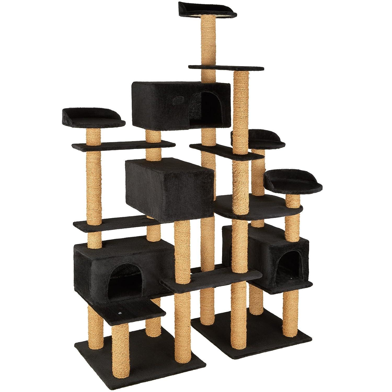 TecTake Árbol rascador para gatos 214 cm de altura | 4 plataformas de observación | 4 cómodas madrigueras - disponible en diferentes colores (Negro | no.