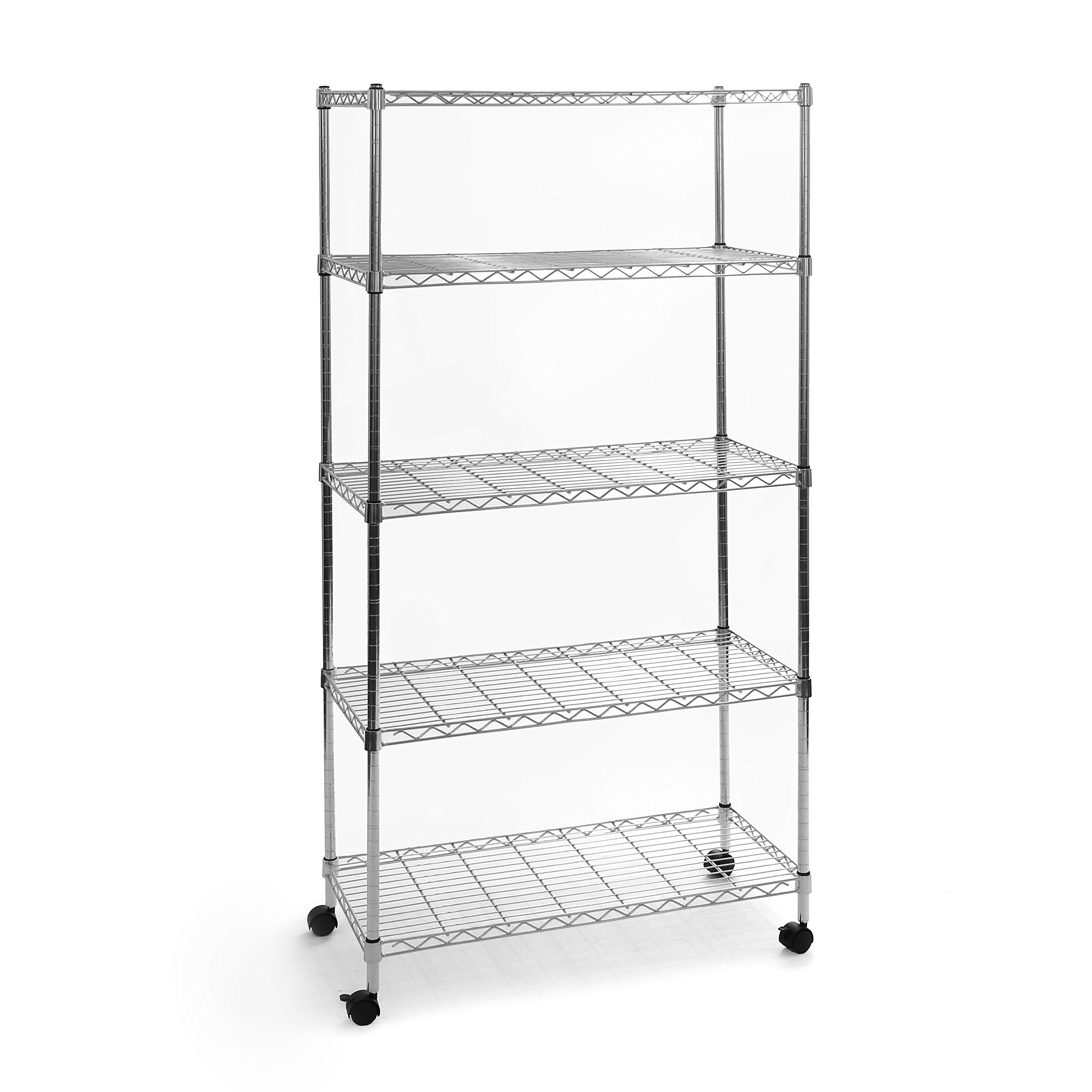 Seville Classics 5-Tier Steel Wire Shelving with Wheels, 30'' W x 14'' D x 60'' H, Plated Steel by Seville Classics