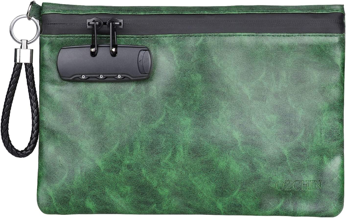 Odor Proof Pouch with Combination Lock Smell Proof Bags with Combination Lock PU Leather Smell Proof Stash Container 10 x 7 inches (Green)