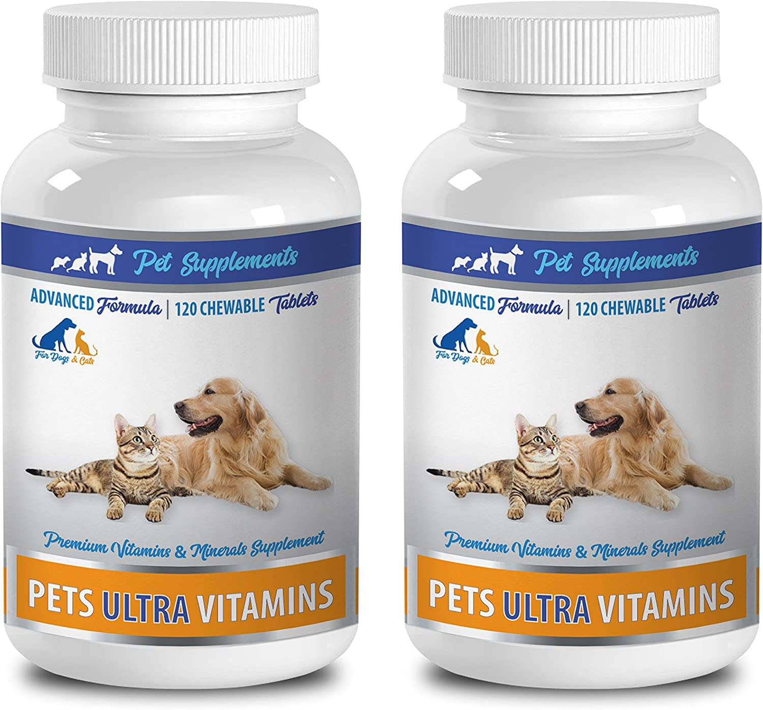 Dog Eye Supplement - PET Ultra Vitamins - Premium Minerals - for Cats and Dogs - Vitamin e for Dogs - 2 Bottle (240 Chewable)