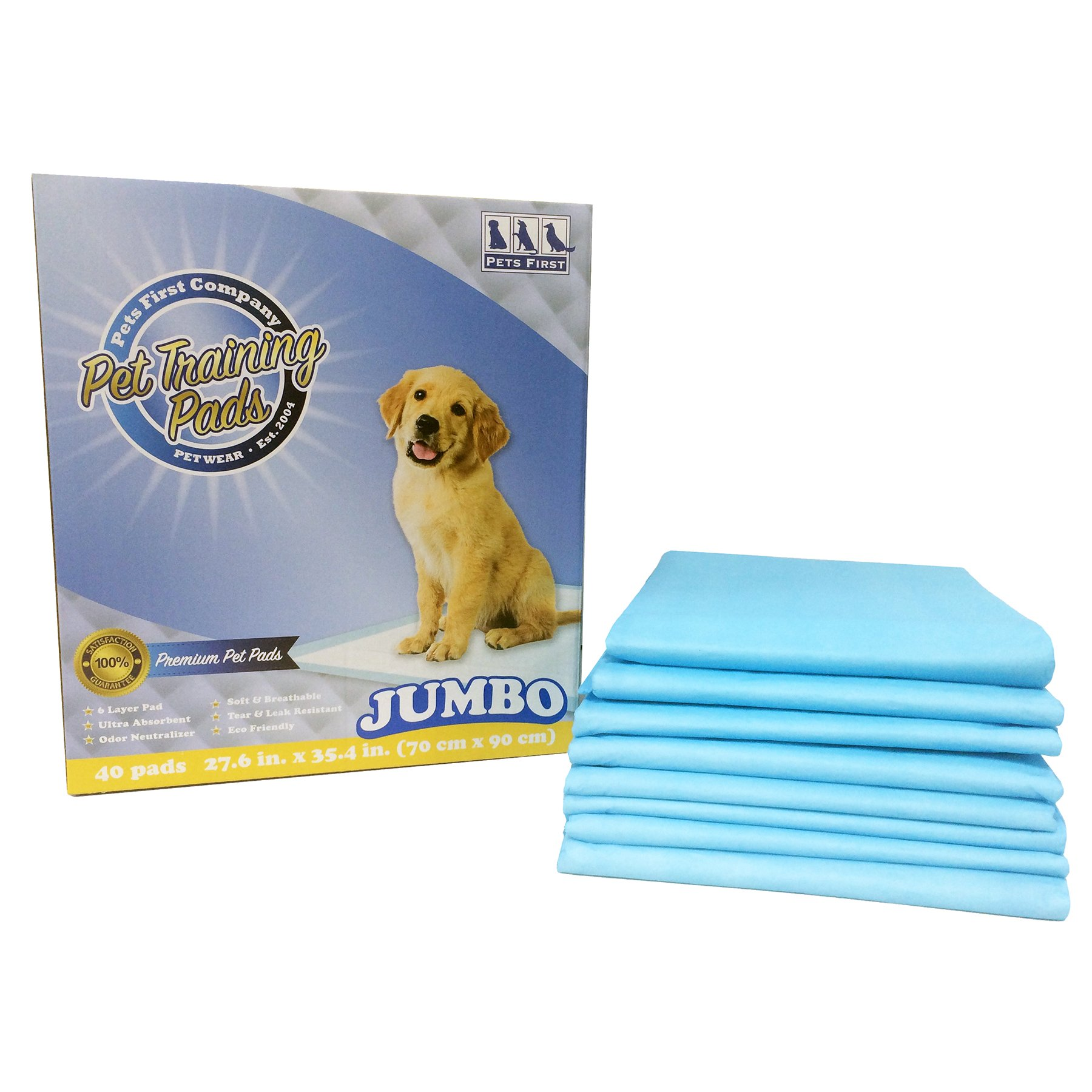PREMIUM JUMBO TRAINING PADS (40 Count) Newest Version - MOST ABSORBENT Puppy Pads. Latest Tech XL DOG TRAINING PADS