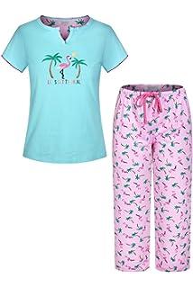 Suppliesed Womens Printed Short Sleeve Pure Cotton Sleepwear Capri Set