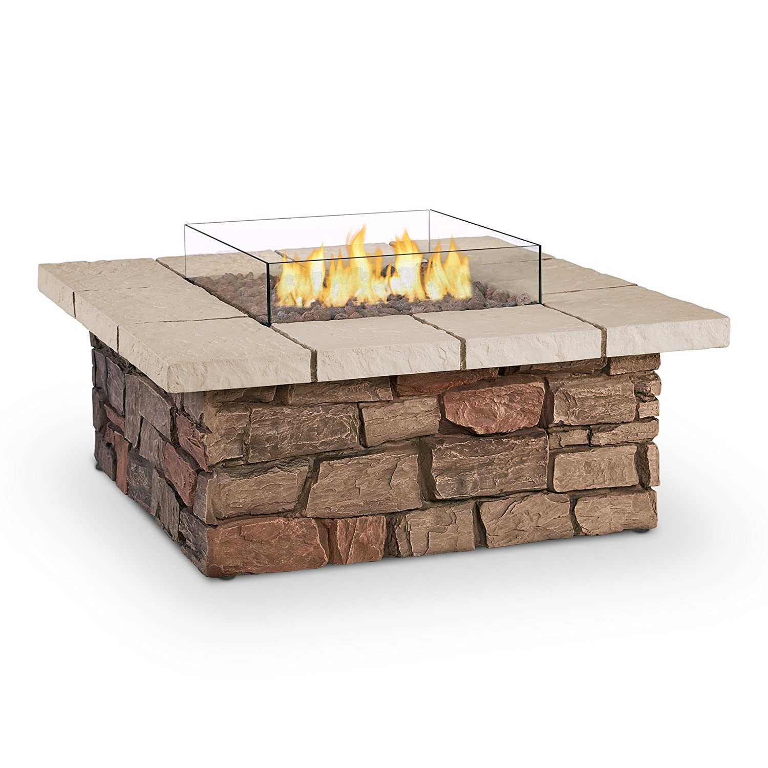 Real Flame 11811LP-BF Sedona Square Propane Fire Table, Large, Brown