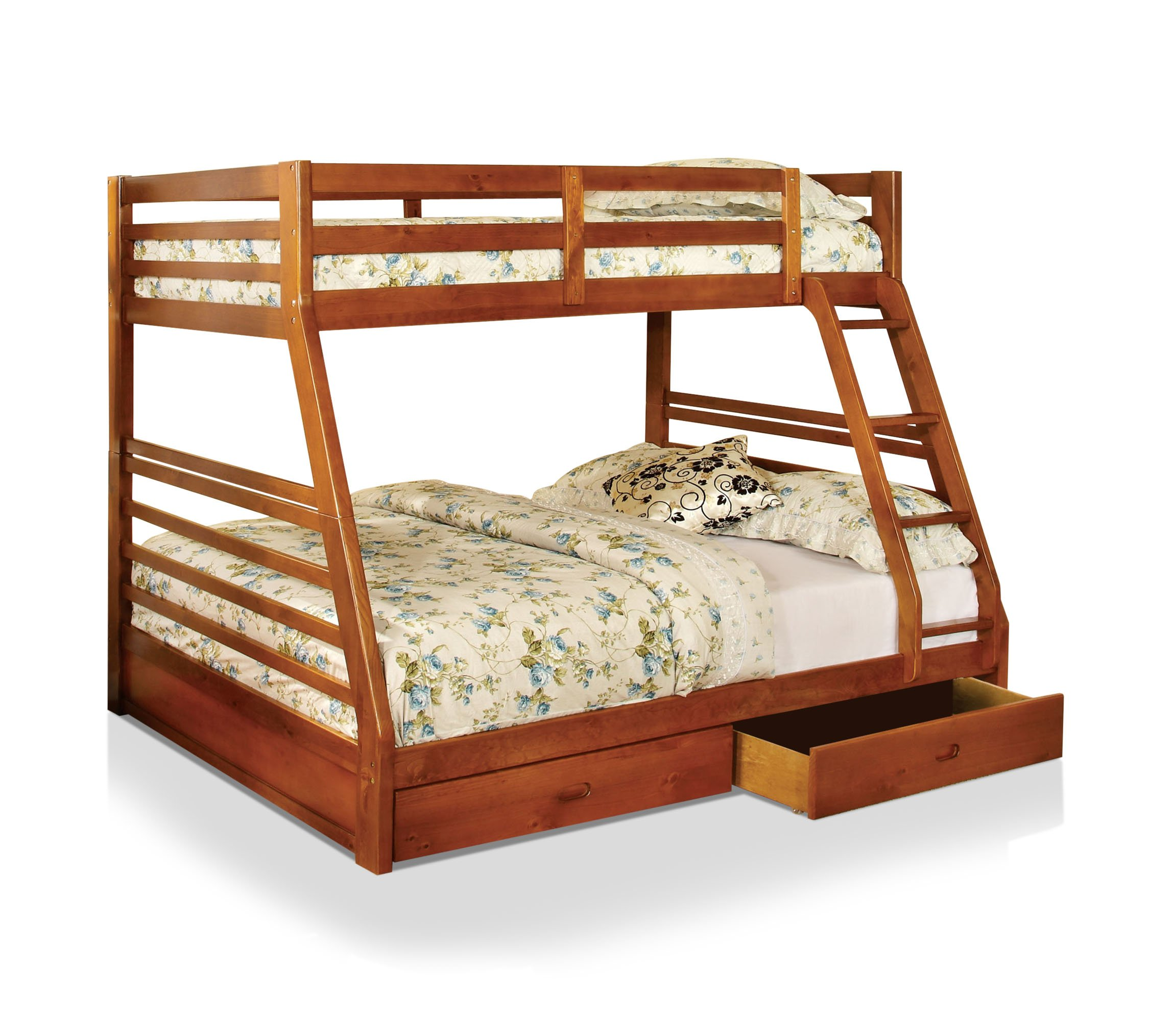 HOMES: Inside + Out IDF-BK588A Lamo Bunk Bed, Twin/Full, Oak