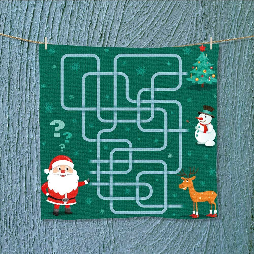 AuraiseHome camping towel maze game santa claus is choos friends new year vector Easy care machine wash W19.7 x W19.7
