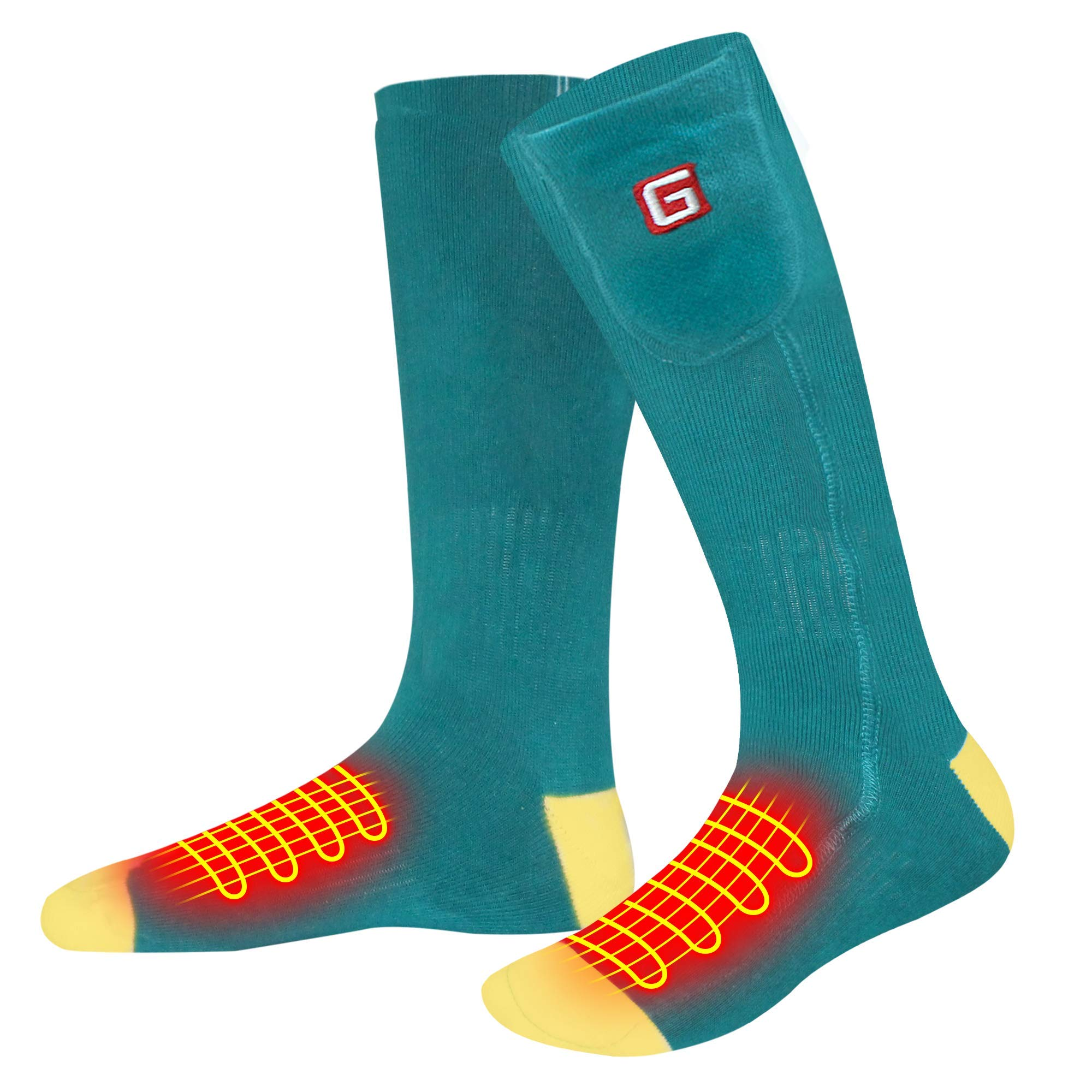 QILOVE Electric Heated Socks,Rechargeable Battery Powered Men Women Warming Socks Hosiery Extreme Cold Weather Socks,Heat Foot Warmers Sox for Outdoor Sports Motorcycle by QILOVE