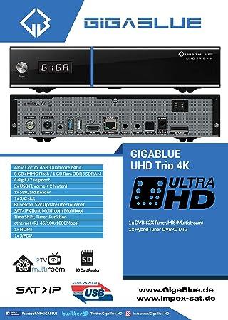 GigaBlue UHD Trio 4K 2160p 1xDVB-S2X MS 1xDVB-C//T2 Sintonizador Linux Receptor Negro Incluye Octagon WLAN USB 150 Mbit 2 dB antena