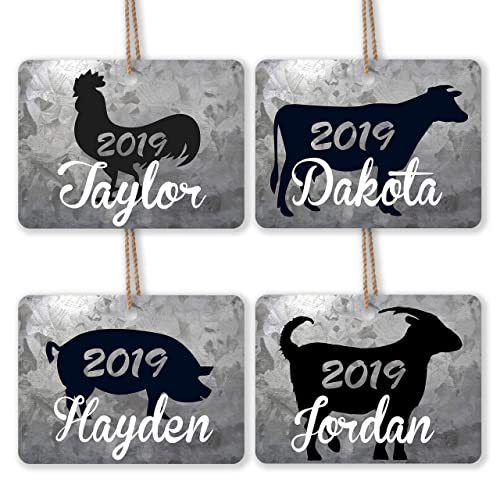 Rooster Personalized Farm Animal Christmas Ornament Cow Goat Ornament Galvanized Metal Pig