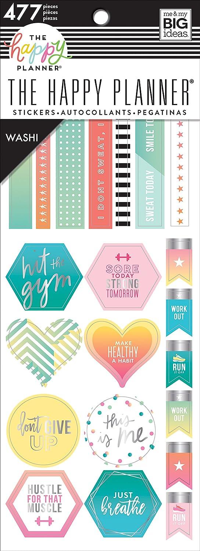 Me & My Big Ideas Happy Planner Washi Sticker Book, Fitness, 477/Pkg