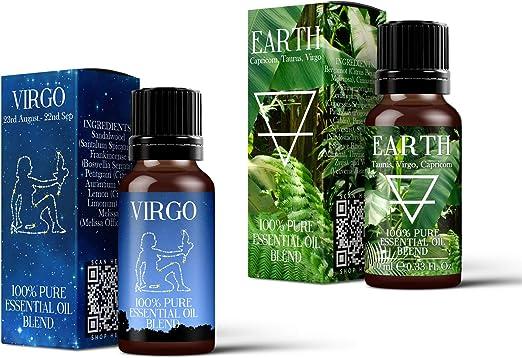 Mezcla de aceites esenciales Mystic Moments, Earth Element y Virgo Zodiac Sign Astrology, 2 unidades (2 x 10 ml): Amazon.es: Hogar