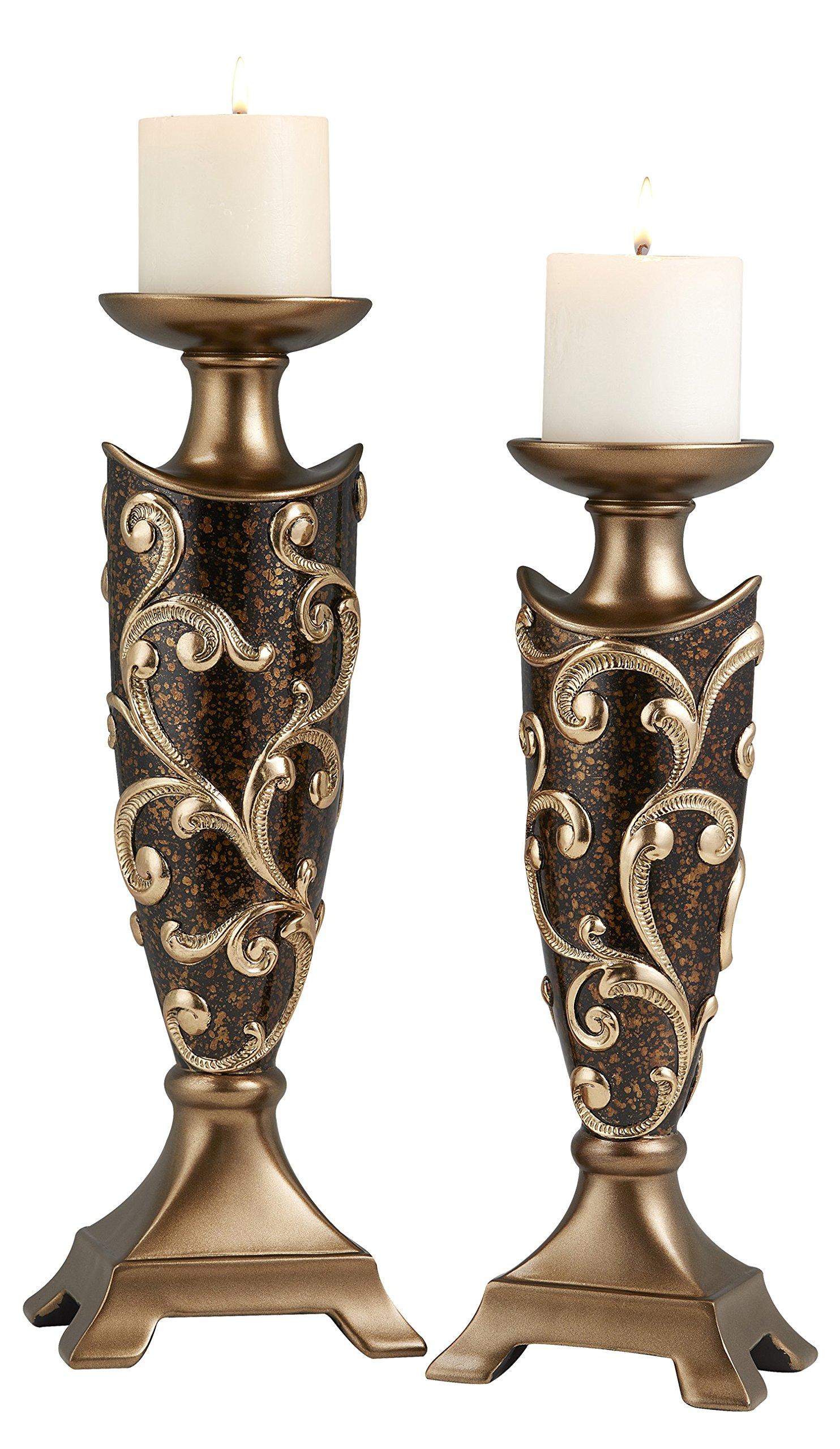 OK Lighting OK-4281C Odysseus Candleholder Set of 2 (14'' & 16''H),, by OK Lighting