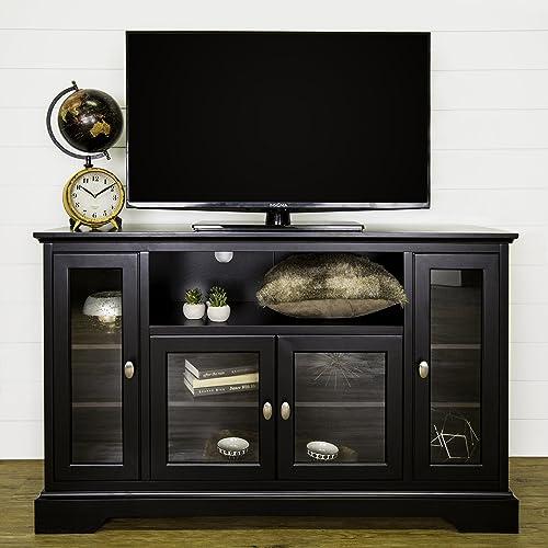 52 Inch Modern Glass Wood Highboy TV Console, Black Finish