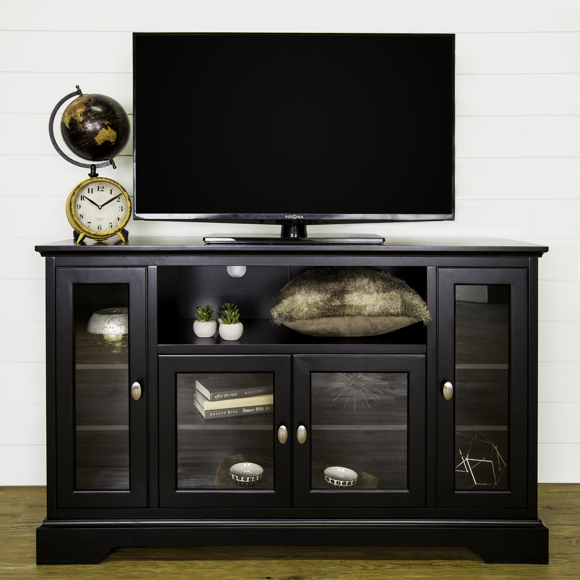 52 Inch Modern Glass & Wood Highboy TV Console, Black Finish