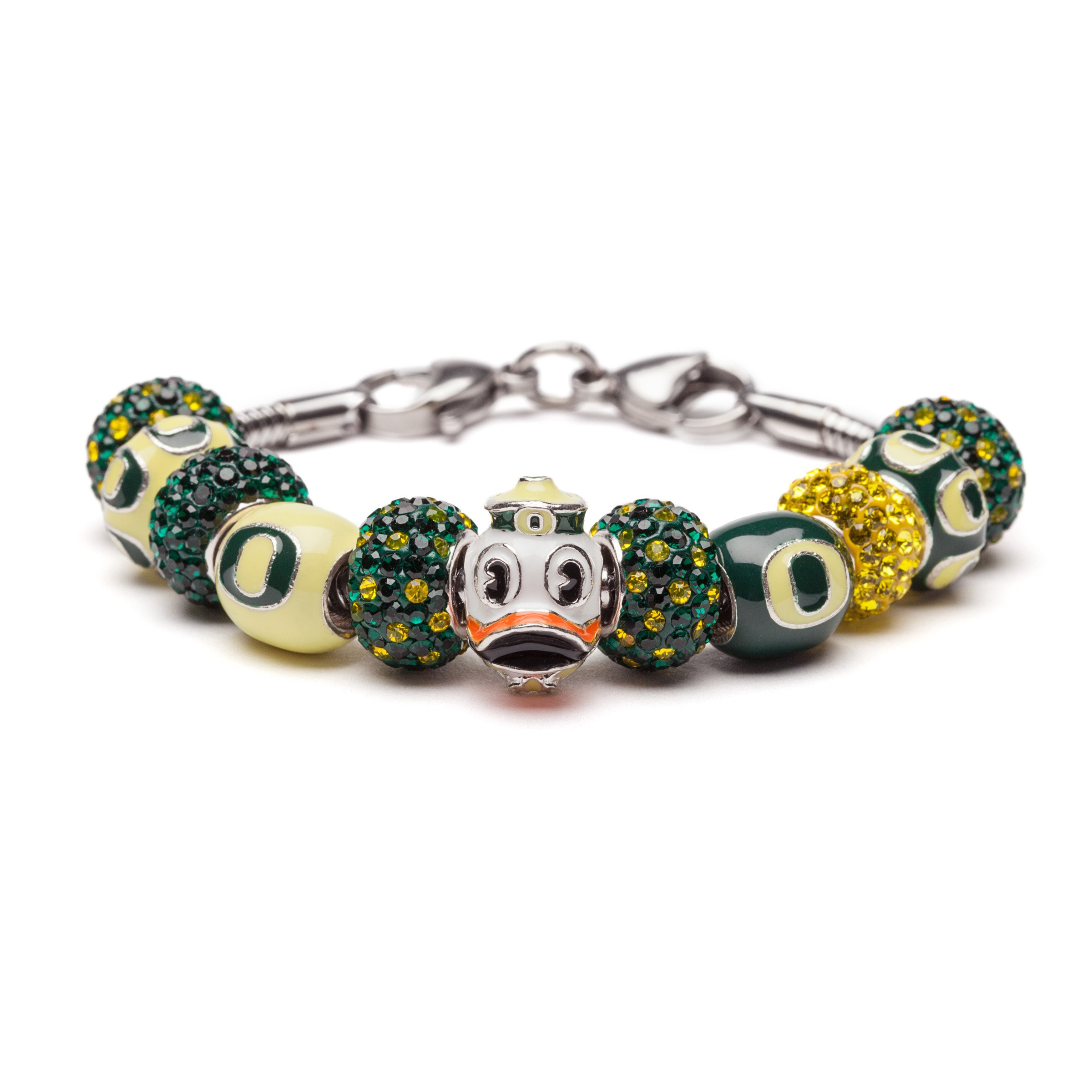 University of Oregon Bracelet | UO Ducks - Bracelet with 5 UO Beads and 6 Crystal Charms | Officially Licensed University of Oregon Jewelry | UO Charms | University of Oregon Gifts | Stainless Steel