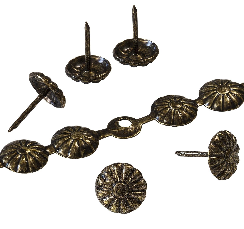 decotacks® Tiras de clavos de tapicería/Tachuela en Daisy 7/16(11mm) cabeza, 6metros (6,5m), acabado en oro envejecido dx5411ab-s6m-uk 6metros (6 5m) acabado en oro envejecido dx5411ab-s6m-uk DX5411AB-S6M