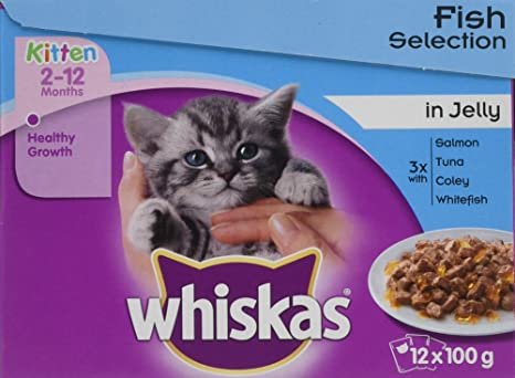 Whiskas Fish Selection, comida para gatos, 2-12 meses, con sabor a