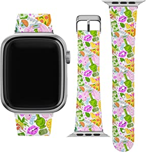 Lex Altern Band Compatible with Apple Watch Series 6 SE 5 4 3 2 1 38mm 40mm 42mm 44mm Weed Stylish Marijuana Leaf Smoking Cool Wristband Pizza Durable Print Trippy Replacement Strap for iWatch wh419