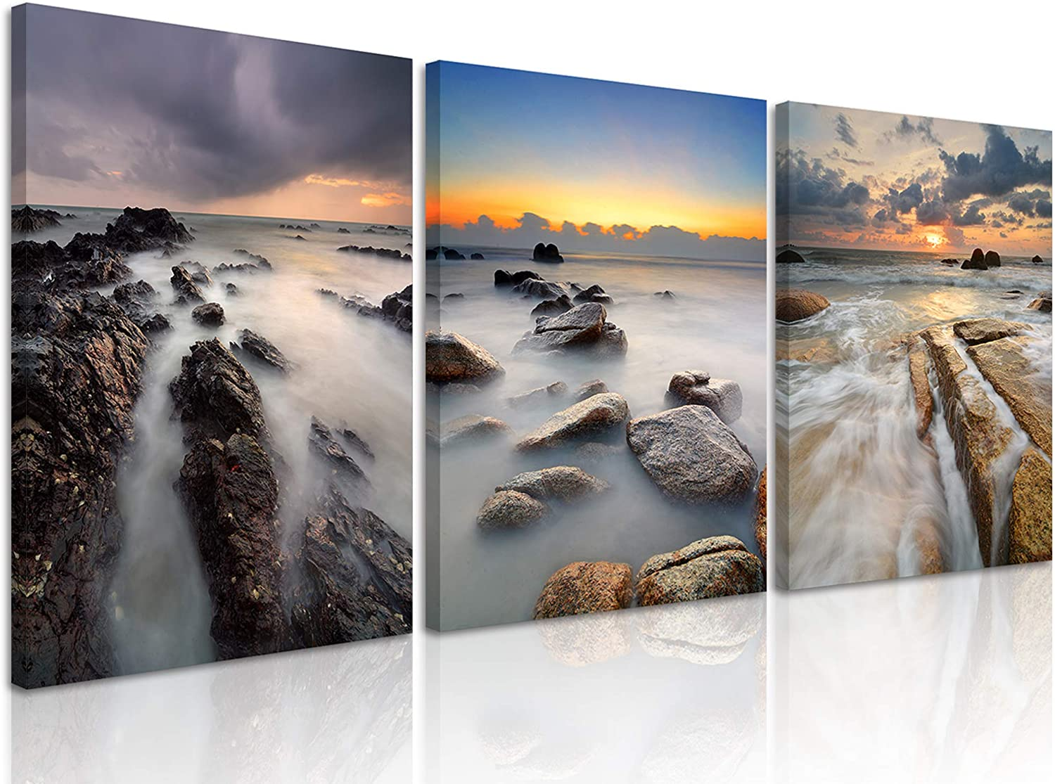 Natural art Canvas Wall Art Landscape Theme with Wooden Frame Rising Tide Paintings Ready to Hang for Home Livingroom Bedroom 12 X 16 Inches x 3 Panels