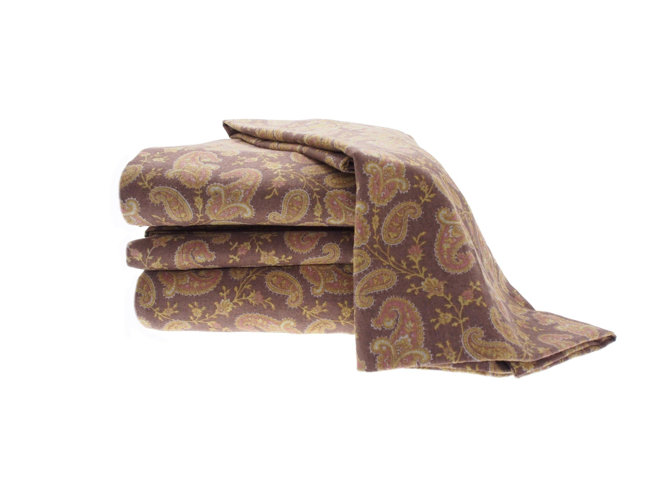 La Rochelle Printed Heathered Flannel Paisley Sheet Set, King, Brown