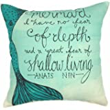 "YOUR SMILE Mermaid Cotton Linen Square Home Decorative Throw Pillow Case Cushion Cover 18 ""X18 "" (Mermaid 2)"