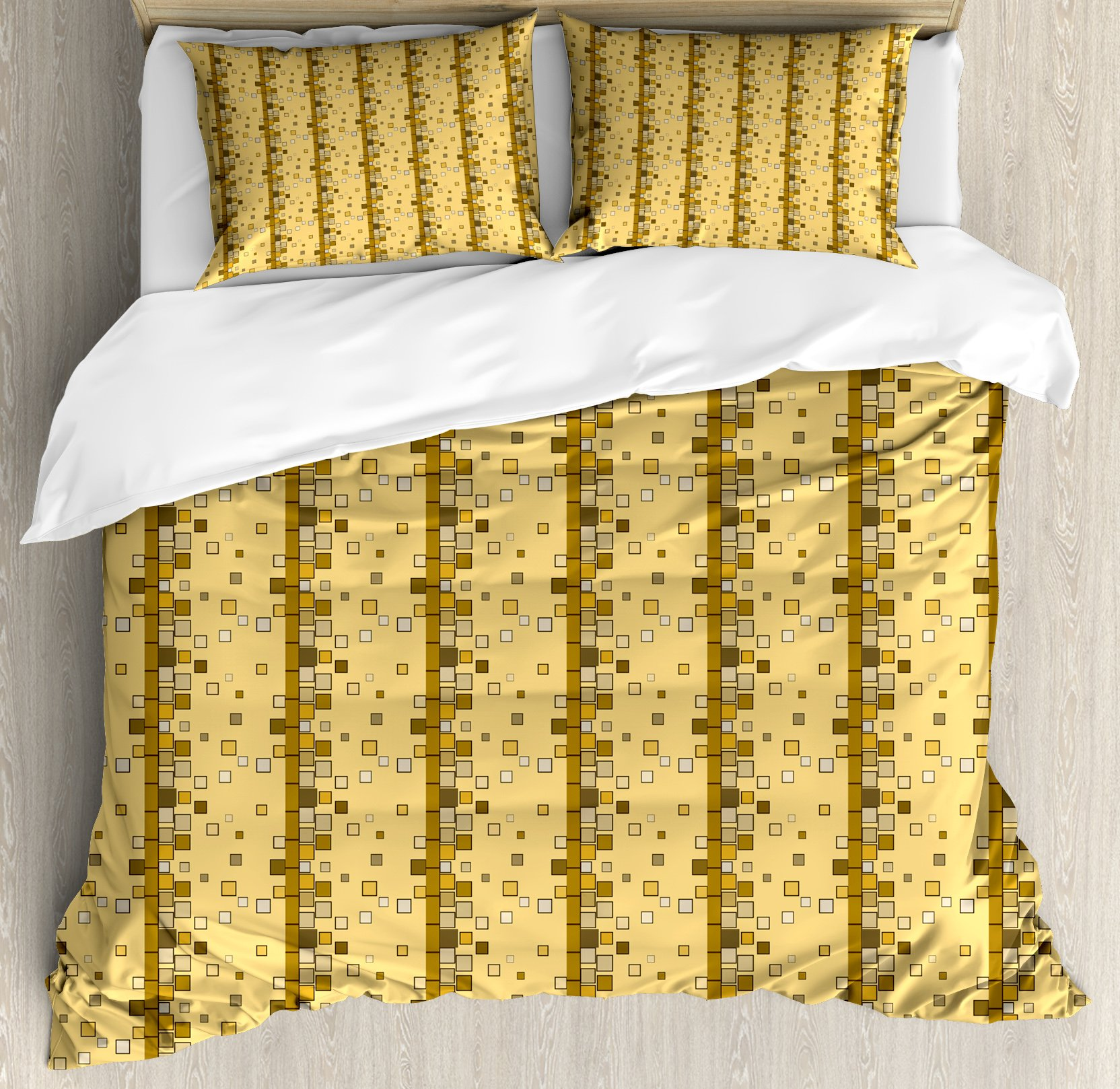 Yellow and Brown Duvet Cover Set Queen Size by Lunarable, Modern Fractal Little Squares Dispersed in Geometric Backdrop Video Game, Decorative 3 Piece Bedding Set with 2 Pillow Shams, Pale Coffee