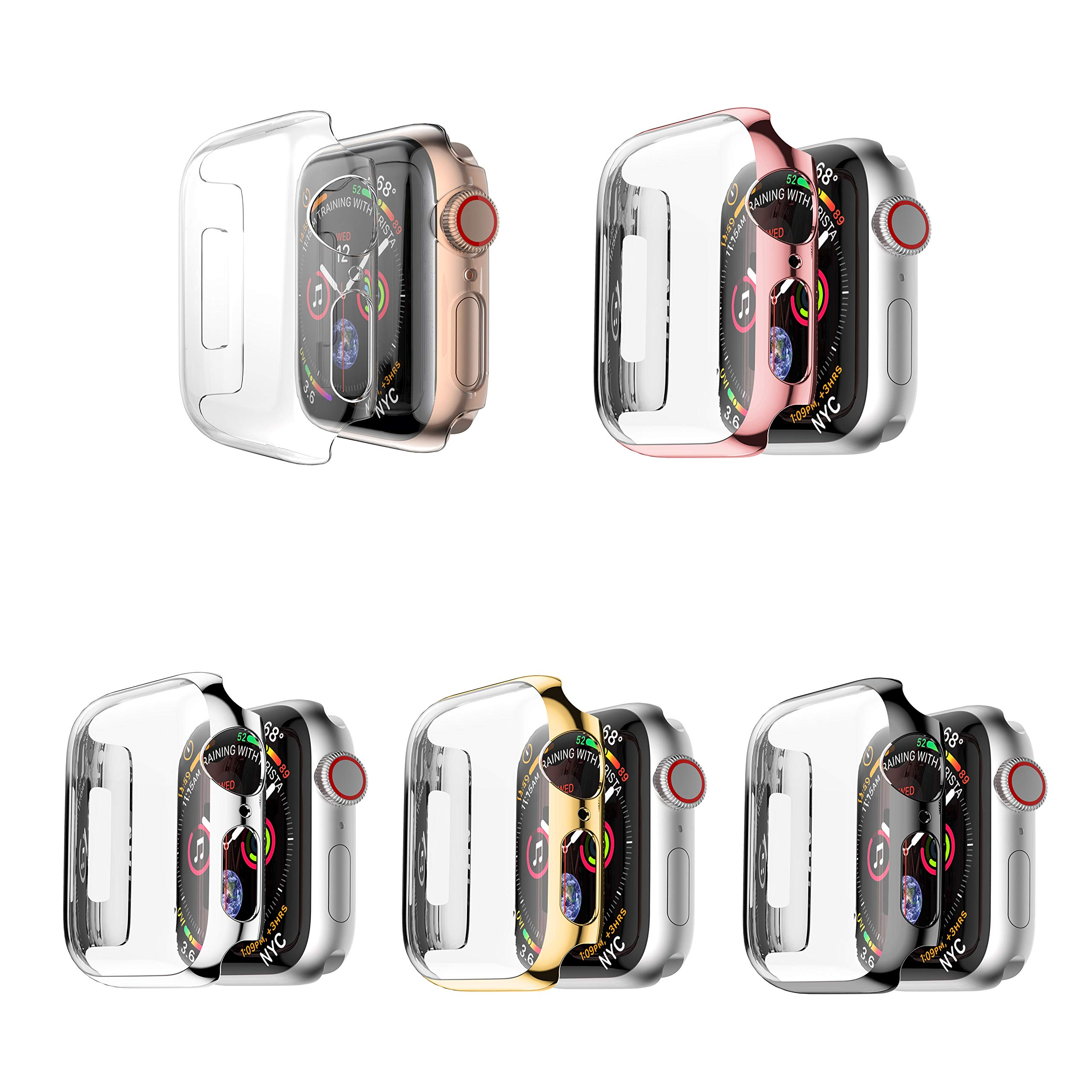 Leotop Compatible with Apple Watch Case 44mm 40mm, Super Thin PC Plated Bumper Clear Screen Protector Full Cover Shell Shockproof Frame Compatible iWatch Series 4 (5 Color Pack, 40mm)