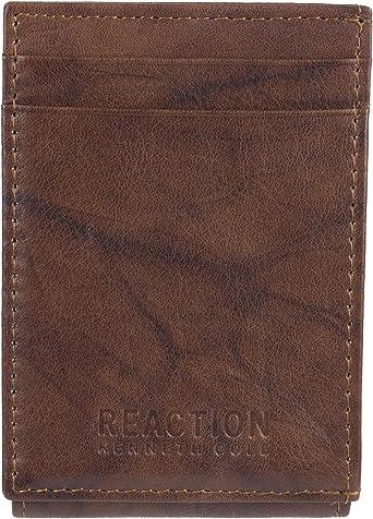 ID Holder Reaction Kenneth Cole Mens Dark Brown Man Made Leather Bi-Fold Wallet