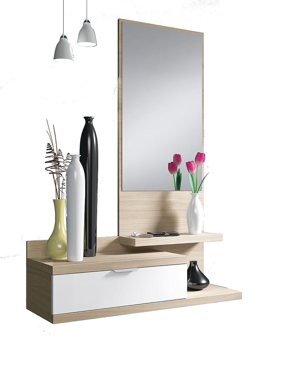 Habitdesign 016744W - Recibidor de un cajón y espejo, color Blanco Brillo y Nature, dimensiones 116 x 81 x 29cm de fondo