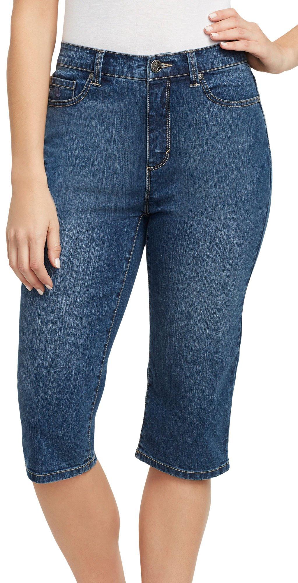 Gloria Vanderbilt Plus Amanda Skimmers Embellished Shorts 12P Venice Blue