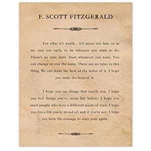 F Scott Fitzgerald For What It's Worth (11x14) Unframed Typography Book Page Poster Print, Great Wall Art Book Quotes Decor Gifts Under 15 for Home, Office, Man Cave, Garage, Library, Student, Teacher