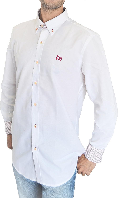 Ridebike Camisa Blanca con Estampados Rojos Vespa | Custom fit | Diseño del puño a Juego con el Cuello (L): Amazon.es: Ropa y accesorios