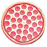 Thick Beach Towel Round Roundie Soft Thick Terry Cotton With Fringe Tassels Tablecloth Burger Pizza Printed (Pizza)