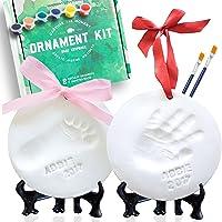 Baby Ornament Keepsake Kit (NEWBORN BUNDLE) 2 EASELS, 4 RIBBONS & LETTERS! Baby Handprint Kit and Footprint Kit, Clay…