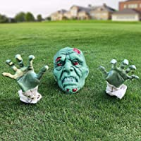 Halloween Decorations - Halloween Realistic Zombie Face and Arms Lawn Stakes - Plastic Green Skeleton Bone Head and Hands Garden Yard Stakes for Haunted House Graveyard, Cemetery, Coffin Party