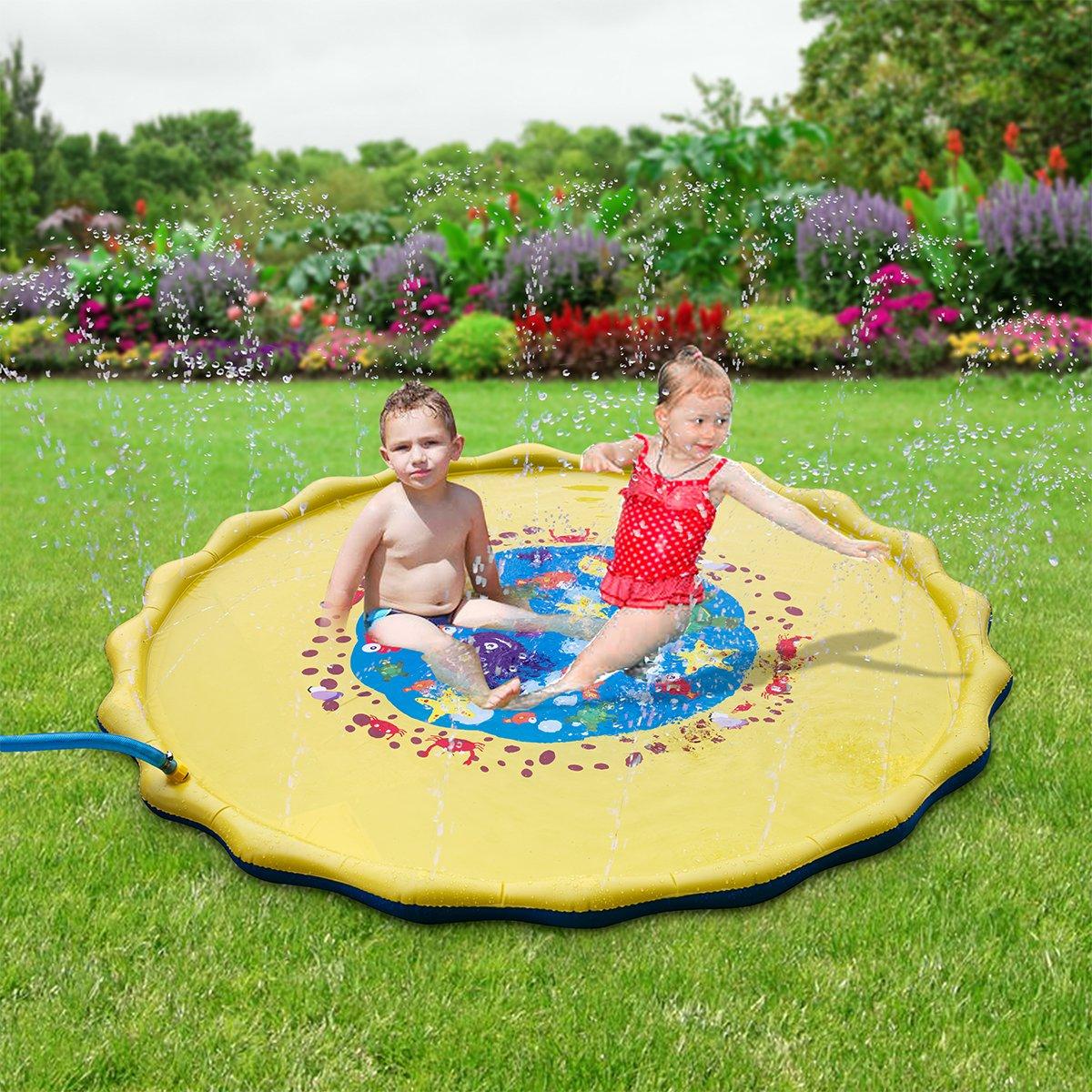 HALOFUN 67in-Diameter Sprinkle and Splash Play Mat for Kids (Yellow) by HALOFUN (Image #2)