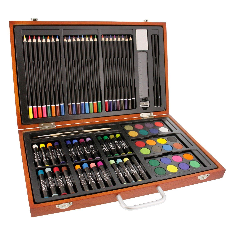 US Art Supply 82 Piece Deluxe Artist Studio Creative Wood Box Set 82-SET