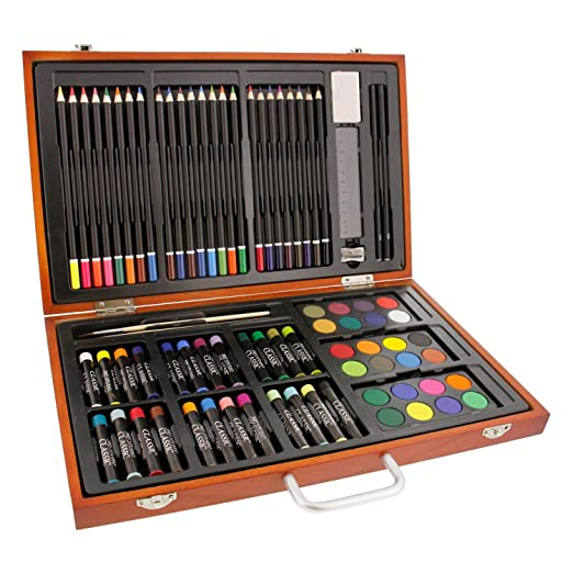 dd26e6438 US Art Supply 82 Piece Deluxe Artist Studio Creative Wood Box Set