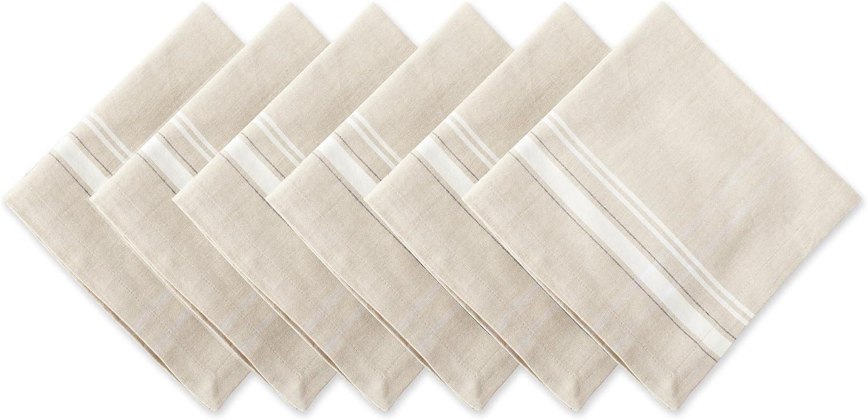"DII 100% Cotton, Oversized Basic Everyday 20x20"" Napkin Set of 6, White French Stripe"