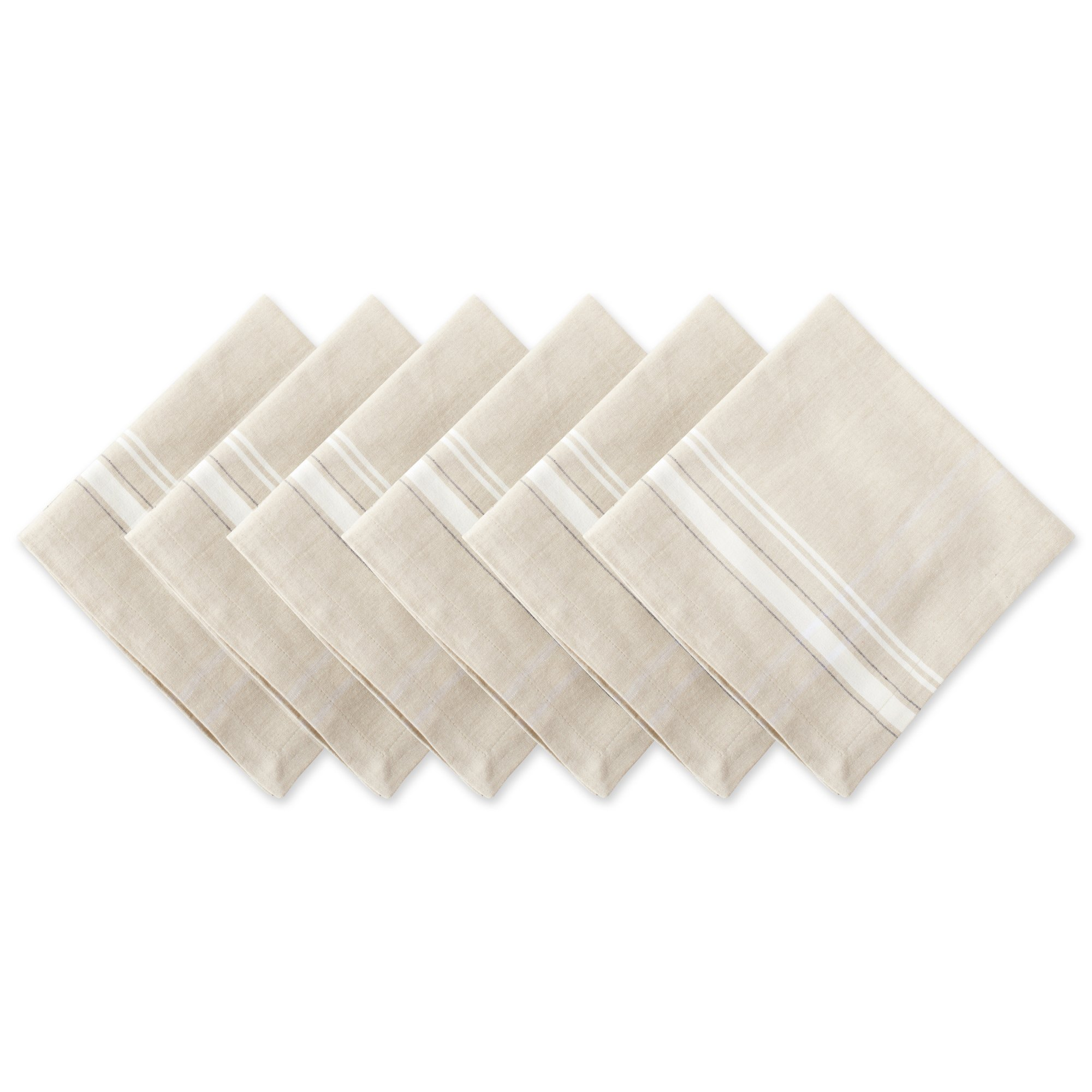 DII 100% Cotton, Oversized Basic Everyday 20x20'' Napkin Set of 6, White French Stripe