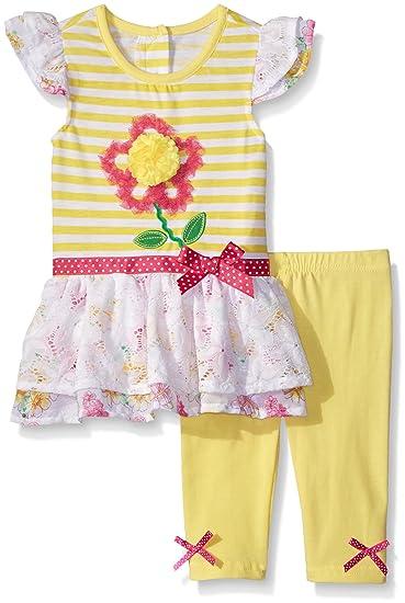 0c1e2e7cf8f0 Amazon.com: Nannette Baby Girls' Little 2 Piece Fashion Legging Set, Yellow  12 Months: Clothing
