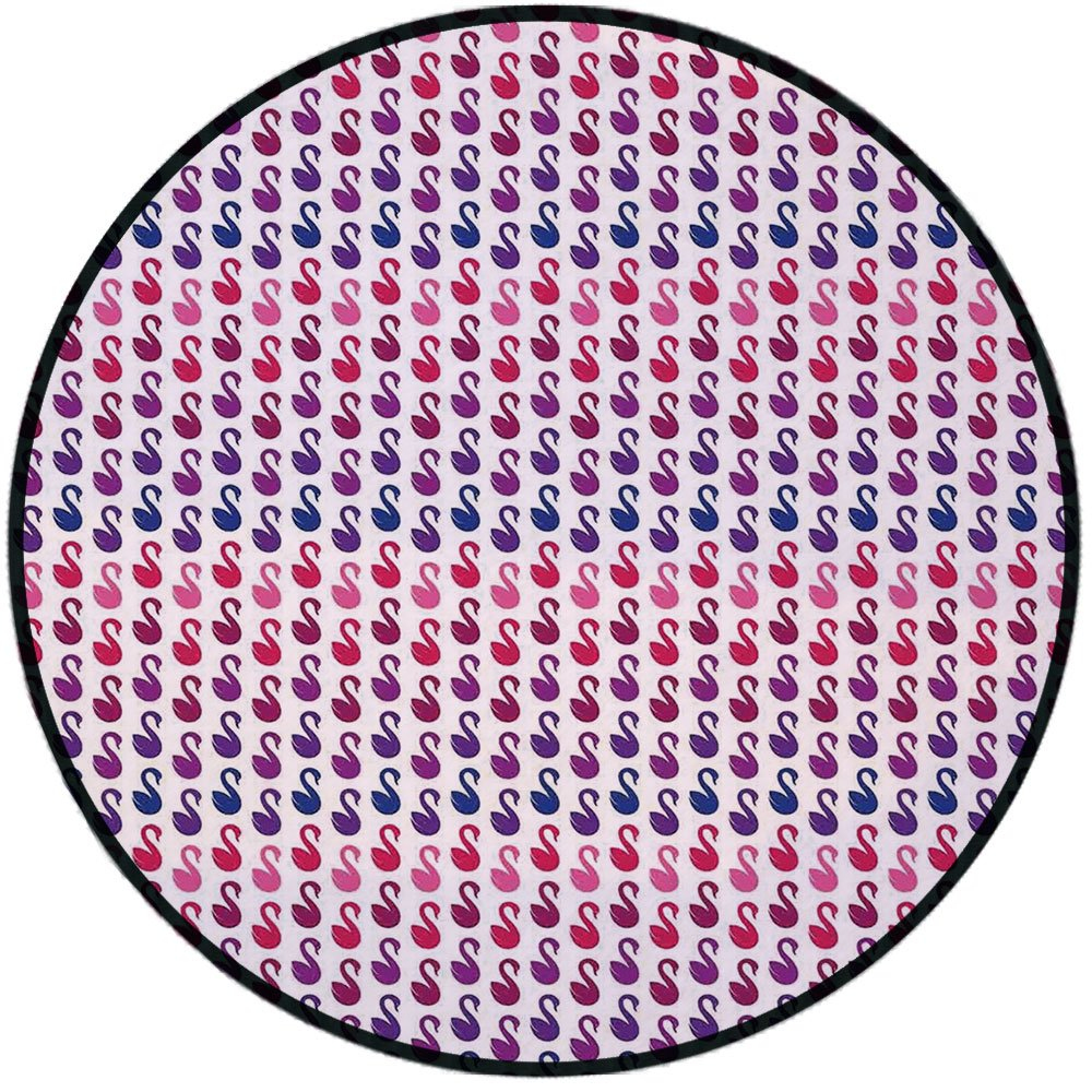 Printing Round Rug,Swan,Symmetrical Small Mute Swan Animal Pattern Aquatic Nursery Theme Vintage Print Mat Non-Slip Soft Entrance Mat Door Floor Rug Area Rug For Chair Living Room,Pink Blue Purple