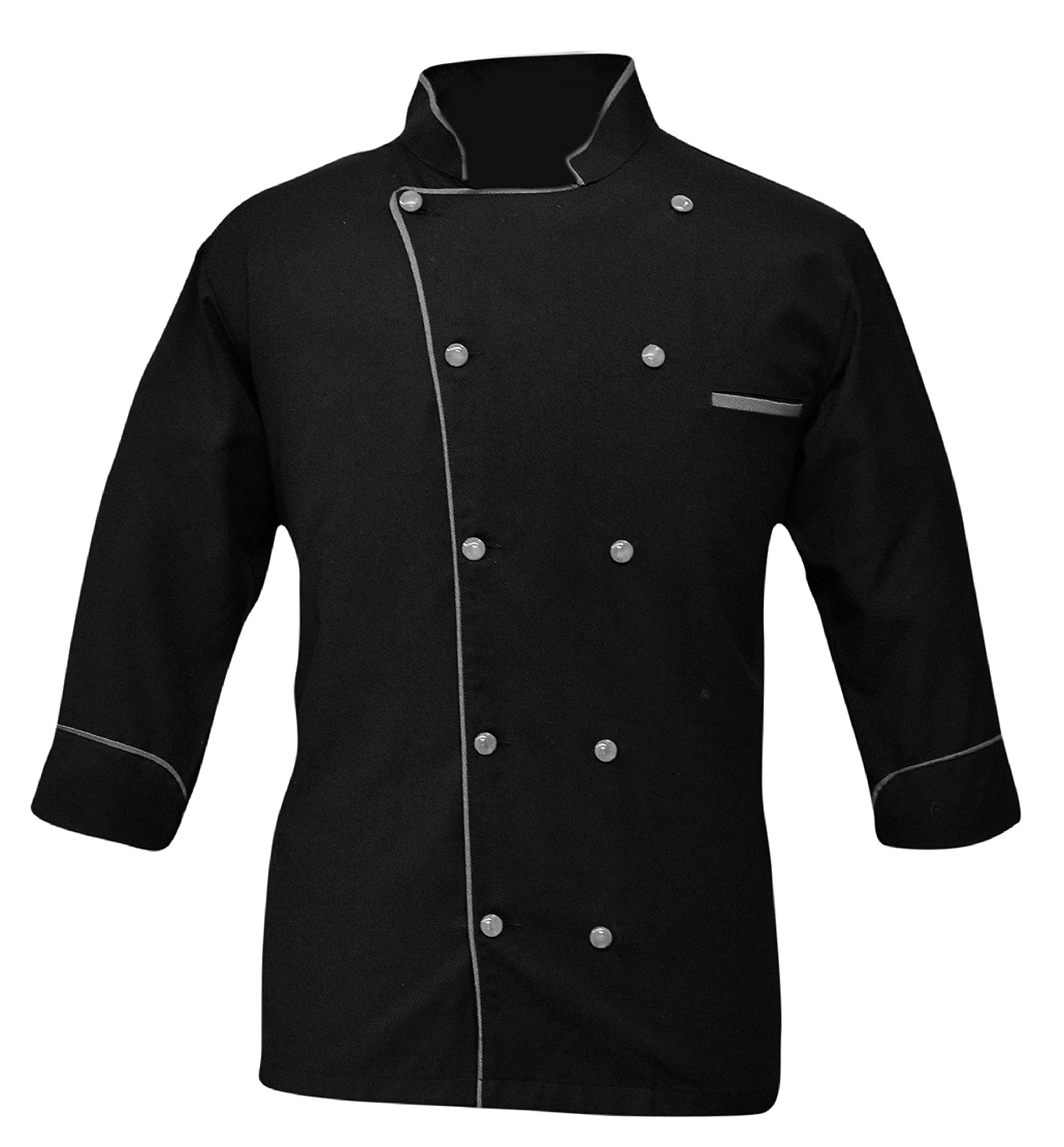 Leorenzo Creation PN-05 Men's Chef Coat (Size-L, Piping Colour Grey)