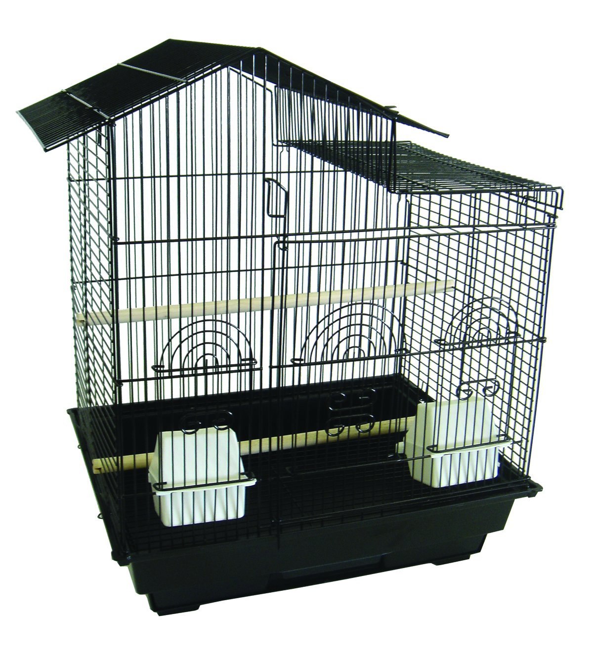YML A5894 3/8-Inch Bar Spacing Villa Top Small Bird Cage, 18-Inch by 14-Inch, Black A5894BLK
