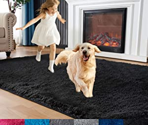 Rugs for Bedroom, Fluffy Area Rug, 4ft x 6ft Furry Carpet for Teens Room, Shaggy Throw Rug for Nursery Room, Fuzzy Plush Rug for Dorm, Cute Room Decor for Girls Boys Room, Black