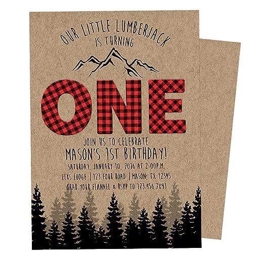 Amazon lumberjack 1st birthday invitations boy one birthday lumberjack 1st birthday invitations boy one birthday invite plaid kraft filmwisefo