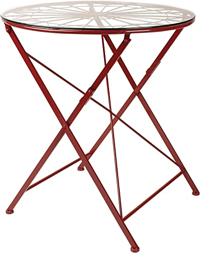 Kate and Laurel Thrapston Geometric Metal and Glass Folding Round Dining Table