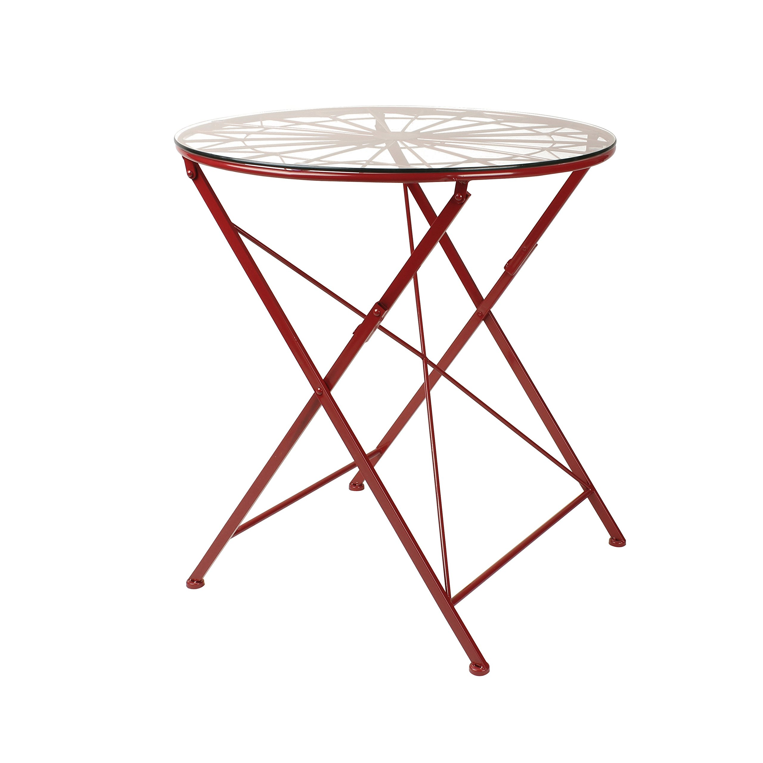 Kate and Laurel 209804 Thrapston Metal and Glass Folding Round Dining Table, Red