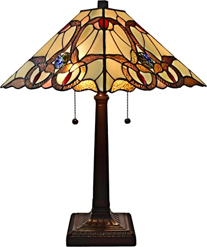 Amora Lighting Tiffany Style Table Lamp Banker Mission 23 Tall Stained Glass Tan Brown Red Vintage Antique Light D cor Night Stand Living Room Bedroom Handmade Gift AM341TL14, Multicolor
