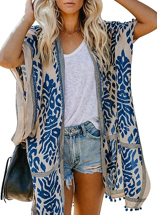 Sidefeel Women Print Pom Pom Tassel Kimono Beach Cover Up Cardigan Top One Size Blue best kimono tops