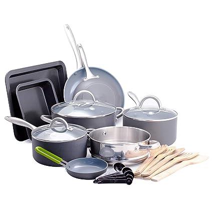 16495e06791c Amazon.com: GreenPan Lima Ceramic Non-Stick Cookware Set, 18pc: Kitchen &  Dining